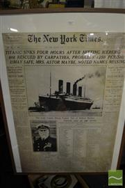 Sale 8487 - Lot 2067 - New York Times Framed Print of a Titanic Article, 102.5 x 72.5cm