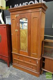 Sale 8515 - Lot 1008 - Timber Mirrored Door Wardrobe