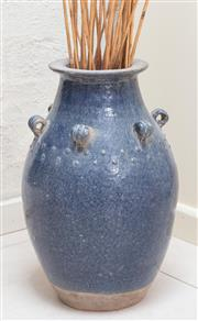 Sale 8550H - Lot 190 - A blue/gray glazed ceramic jar, with six handles together with a decorative reeds, H 42cm