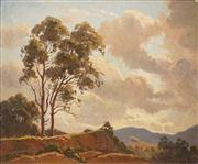 Sale 8583 - Lot 591 - Erik Langker (1898 - 1982) - Storm Approaching Megalong Valley 60 x 75.5cm