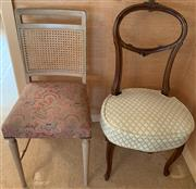 Sale 8510A - Lot 39 - Two bedroom chairs one balloon back one cane back