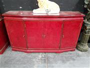 Sale 8717 - Lot 1004 - Oriental Red Lacquered Sideboard with Glass Top & Four Doors