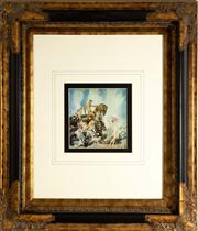 Sale 8774A - Lot 187 - Norman Lindsay print  Springs Retinuein a Black and gilt frame, total frame size 70cm x 60cm