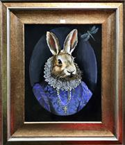 Sale 8817 - Lot 1022 - Framed Painting of a Rabbit from Alice in Wonderland