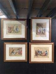 Sale 8824 - Lot 2077 - Group of (4) early hand-coloured English Engravings (framed) -