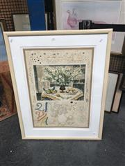 Sale 8841 - Lot 2068 - Artist Unknown Interior Still Life colour lithograph, 93 x 71cm, signed lower