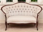 Sale 8881H - Lot 40 - A C19th button back sofa in mushroom coloured raw silk upholstery by Jim Thompson with castors. Height 98 x Width 160 x Depth 85cm
