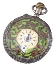 Sale 8928 - Lot 350 - A VINTAGE OPEN FACE POCKET WATCH; decoupage style dial in green with central cream hour dial and white subsidiary seconds dial on a...