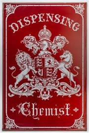 Sale 9054E - Lot 1 - An early Dispensing Chemist sign in ruby red glass bearing the Royal Coat of Arms of the United Kingdom. 82 x 54cm