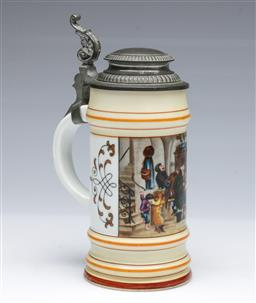 Sale 9093P - Lot 76 - Antique German Stein with Musicians Scene and Lithophane of a Young Girl with Deer, h. 20cm.