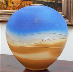 Sale 9097H - Lot 14 - An ovoid Marianne Cole Outback vase with gilt rim, Height 35cm