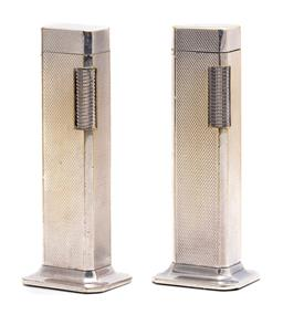 Sale 9099 - Lot 17 - A pair of Dunhill silver plated Tall Boy Lighters, each height 11cm