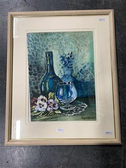 Sale 9159 - Lot 2033 - Sybil Barber Still Life with Flowers & Glassware, watercolour, frame: 55 x 45 cm, signed lower right -