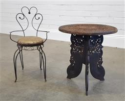 Sale 9174 - Lot 1127 - Ornate Indian side table Together with metal framed kids chair (h47 x d46cm)