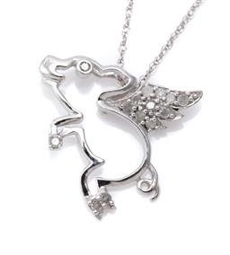 Sale 9194 - Lot 334 - A 10CT WHITE GOLD DIAMOND PENDANT NECKLACE; in the form of a flying pig set with 14 single cut diamonds totalling approx. 0.10ct, si...