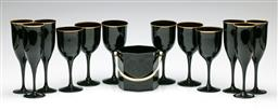 Sale 9192 - Lot 77 - A French Black Glass Drinks Suite Comprising Six Flutes (H:22cm), Six Wine Glasses, and an Ice Bucket
