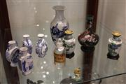 Sale 7977 - Lot 75 - 3 Cloisonne Vases on Stand, Blue and White Vases and Glass Apothecary Bottle