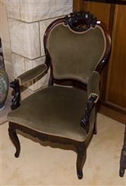 Sale 7981B - Lot 92 - Antique Dutch Carved Rosewood Armchair