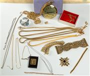 Sale 8369A - Lot 380 - A tray of costume jewellery including chains, knot brooch, necklaces, bracelets etc