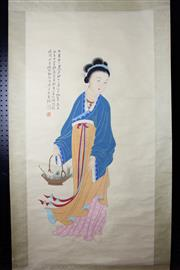 Sale 8393 - Lot 79 - Chinese Scroll; Lady in Blue & Orange with Fish Depiction on Pale Yellow Mounting; Signed