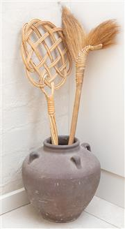 Sale 8550H - Lot 155 - A brown clay pot with four handles together with a grass brush and a cane swatter, H 31cm