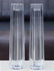 Sale 8593A - Lot 2 - A pair of Tiffany & Co Atlas crystal ribbed tapered pillar candlesticks sticks, H 20.5cm