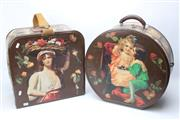 Sale 8728 - Lot 1074 - Two Early Canvas & Decoupage Travel Cases, mounted with old post cards, figural motifs & flowers