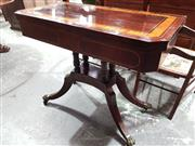 Sale 8792 - Lot 1013 - Regency Rosewood & Brass Inlaid Card Table, the top with satinwood band & green felt interior, on a cluster column base with outswep...