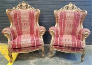 Sale 9026 - Lot 1005 - Pair of Oversized Gilt Chairs (h:120 x w:90cm)