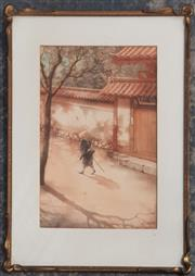 Sale 9053 - Lot 2090 - Hideo Saito Traveller Passing Through watercolour 54 x 39cm (frame) signed lower right -