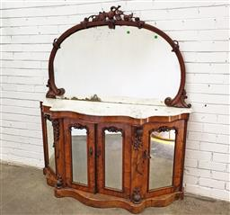 Sale 9097 - Lot 1012 - Victorian Figured Walnut Credenza, the arched fruit carved mirror above a white serpentine shaped marble top, with four carved mirro...