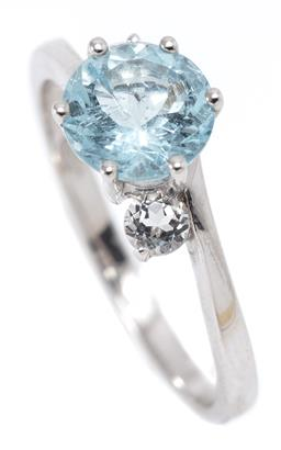Sale 9164J - Lot 420 - AN AQUAMARINE AND TOPAZ RING; set in silver with a round cut aquamarine adjacent to 2 round cut white topaz, size M1/2, width 6mm, w...