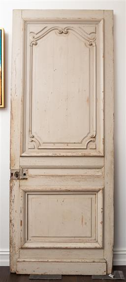 Sale 9160H - Lot 207 - A Vintage French carved and en grisaille timber door, Height 218cm x Width 85cm, ex Parterre Garden