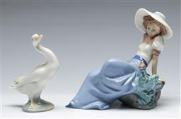 Sale 9164 - Lot 476 - Nao figure of a lady and a bird (L:14.5cm) and a Lladro figure of a goose (H:12cm)