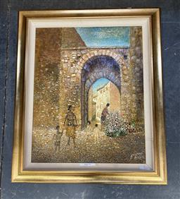 Sale 9176 - Lot 2139 - Giuseppe Risicato Outdoor Florist oil and mixed media on board 99 x 84cm, signed lower right