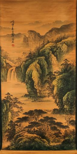 Sale 9209 - Lot 61 - A Chinese scroll depicting river scene (160cm x 75cm)