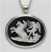 Sale 8036A - Lot 313 - A STERLING SILVER FRAMED CAMEO PENDANT; oval plaque depicting Eros with 3 horses (5.5cm) to silver chain