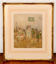Sale 8107B - Lot 81 - IDA RENTOUL SHERBOURNE OUTHWAITE (1888-1960) Refreshments watercolour and ink on paper  35.5 x 29.5cm signed lower left R