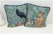 Sale 8308A - Lot 128 - A pair hand worked tapestry and feather filled cushions depicting Aesop's fable of The Fox and The Crow.
