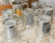 Sale 8338A - Lot 110 - A collection of seven Stokes Mint commemorative pewter tankards