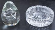 Sale 8530A - Lot 218 - An Irish Waterford hand cut lead crystal ashtray and a heavy crystal bubble egg paper weight, ashtray, D 10cm