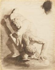 Sale 8642A - Lot 5098 - Artist Unknown - Wrestlers 62.5 x 48.5cm