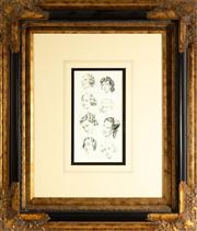 Sale 8774A - Lot 189 - Norman Lindsay, Head study print in black and gilt frame, 70cm x 60cm