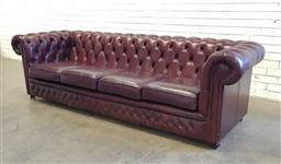 Sale 9126 - Lot 1155 - Leather buttoned 4 seater chesterfield lounge, by Gascoigne (h:74 x w:255 x d:87cm)