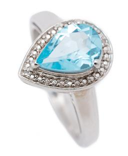 Sale 9186 - Lot 326 - A SILVER TOPAZ AND DIAMOND RING; pear shape top centring a pear cut blue topaz to surround set with 2 single cut diamonds, width 14....