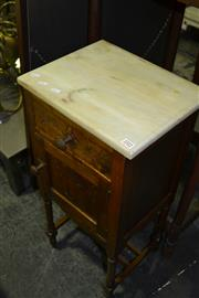 Sale 8093 - Lot 1512 - Marble Top Bedside Cabinet