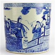Sale 8221 - Lot 25 - Ching Dynasty Style Blue & White Eight Immortals Brush Pot
