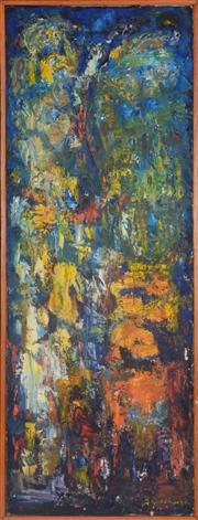 Sale 8334 - Lot 591 - Florence Broadhurst (1899 - 1977) - Abstract Landscape 96.5 x 35.5cm