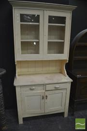 Sale 8386 - Lot 1008 - Pine Kitchen Cabinet with Glass Panel Doors