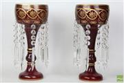 Sale 8481 - Lot 96 - Ruby Red Glass Lusters with Gilt Decoration, one luster damaged